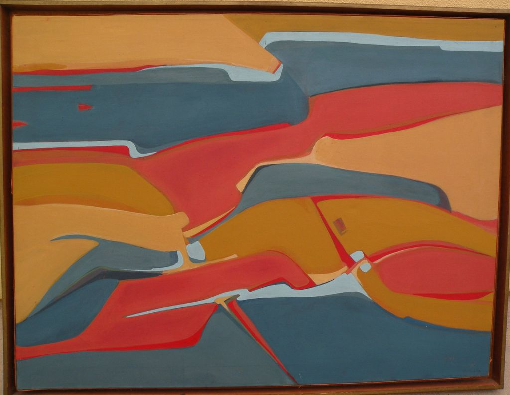 """Southwestern American art signed abstract landscape painting """"Indian Country"""""""