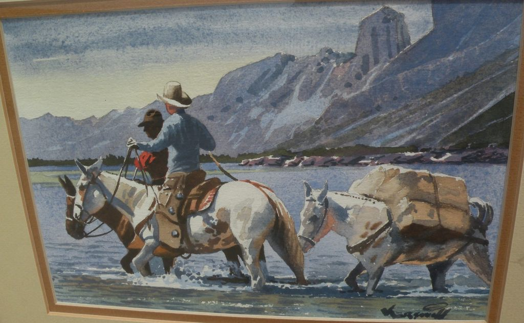 ROY KERSWILL (1925-2002) western American art watercolor painting of cowboys crossing a river in mountain landscape