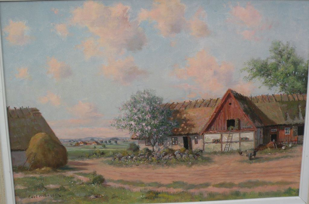 CARL MANSSON (1892-1976) Swedish art impressionist painting of a farm and barn area by listed Scandinavian artist