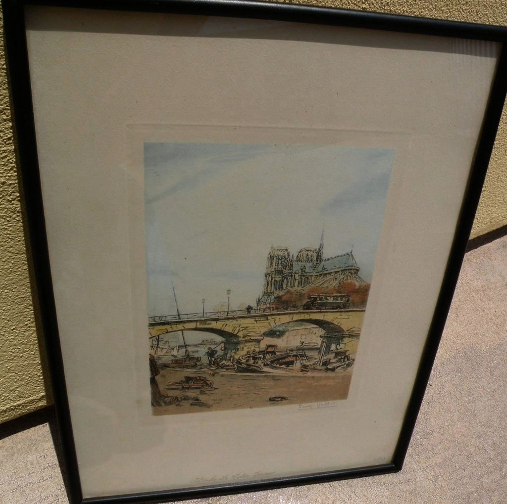 EUGENE VEDER (1876-1936) pencil signed color etching of Notre Dame and the Seine by noted French printmaker