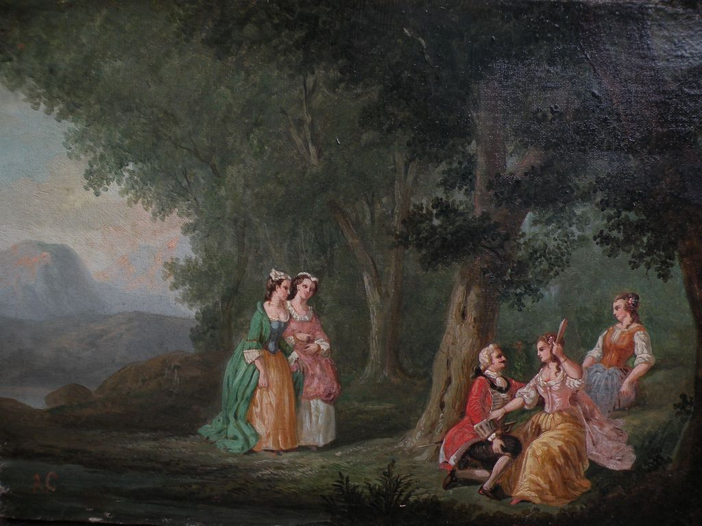 French art circa 1900 oil painting in 18th century style of a male suitor in a woodland landscape pursuing a lady as others look on