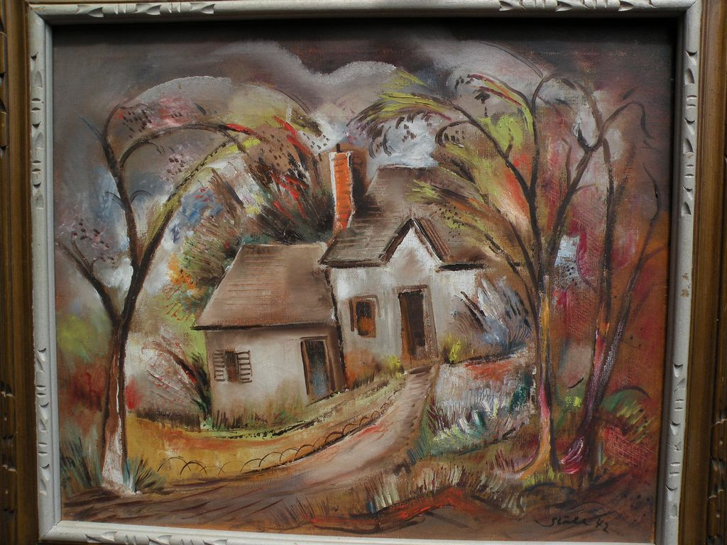 """BENJAMIN ALBERT STAHL (1910-1987) expressionist oil painting """"Laurel Canyon"""" by important American illustrator artist"""