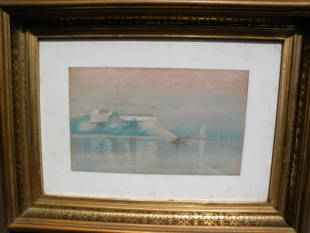 WILLIAM PIERCE STUBBS (1842-1909) scarce early pastel drawing of a coastline by noted American marine artist