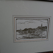 "THOMAS NASON (1889-1971) woodblock print ""Rockport"" pencil signed by relative"