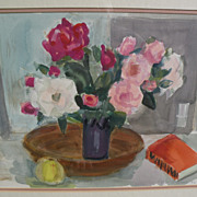 ROLF DIENER (1906-1988) modern German art original watercolor still life painting