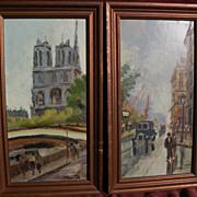 French art PAIR of signed Paris street scene paintings