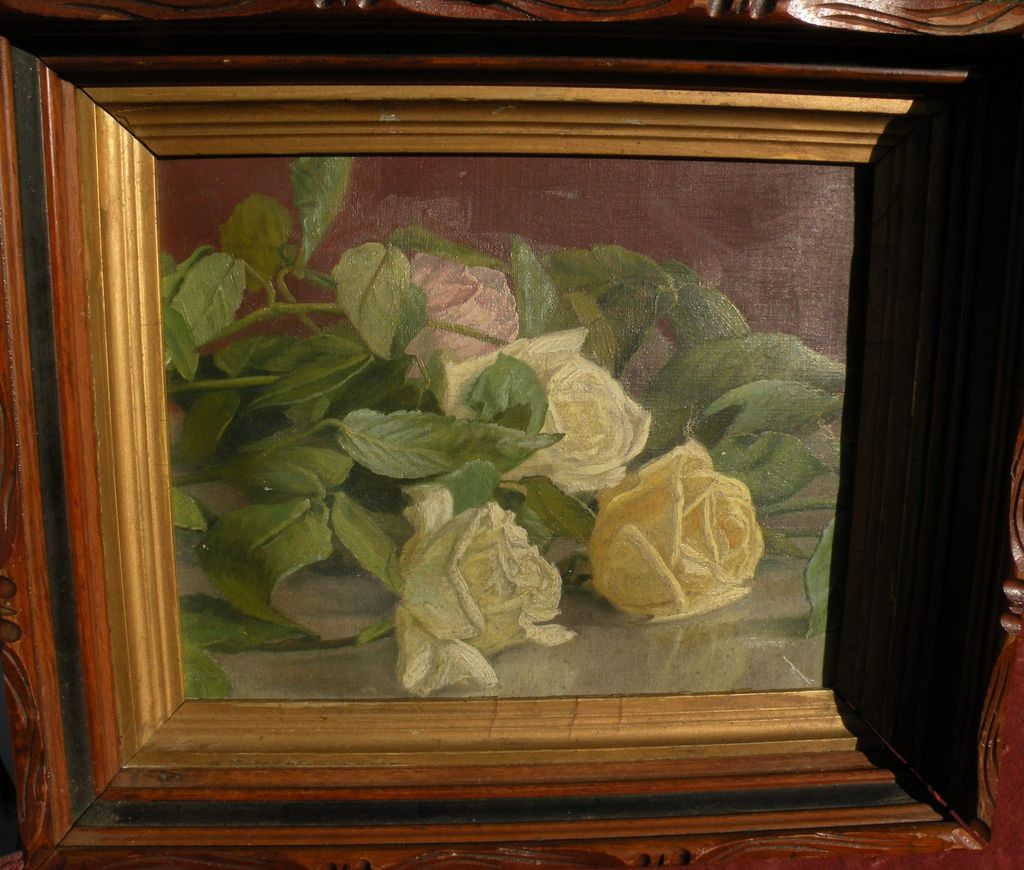 Vintage American Still Life Oil Painting Of Roses Circa