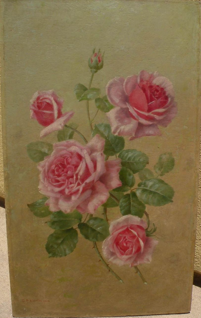 SAMUEL S. NICOLINI (1855-) roses still life painting by European artist associated with California
