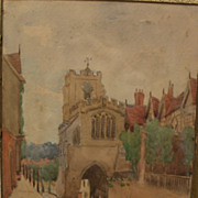 English watercolor street scene painting in Warwick, England signed F. A. BOLTON