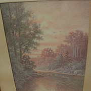 PERCY A. SANBORN (1849-1929) fine watercolor river landscape painting by one of Maine's best known artists