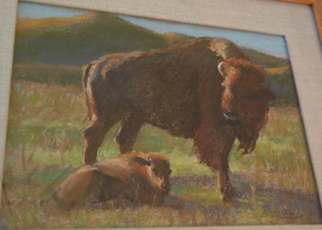 BONNITA BUDYSZ original pastel drawing of bison and calf by noted contemporary California plein air artist