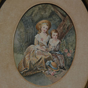 LAURE CLERBOIS (1859-1944) miniature watercolor painting by listed Belgian and California artist