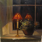 CHRISTIAN MIDJO (1880-1973) antique painting of Arts and Crafts style lamps in a window nook by listed Norwegian American artist