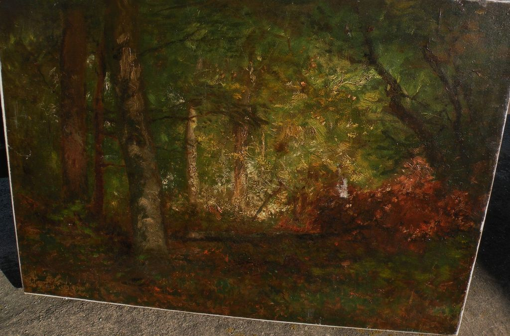 ARTHUR PARTON (1842-1914) American 19th century art impressionist forest interior painting