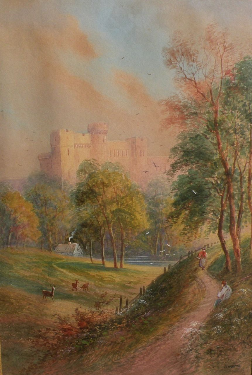 English circa late 1860 watercolor of castle in a landscape with figures signed A. WATTS