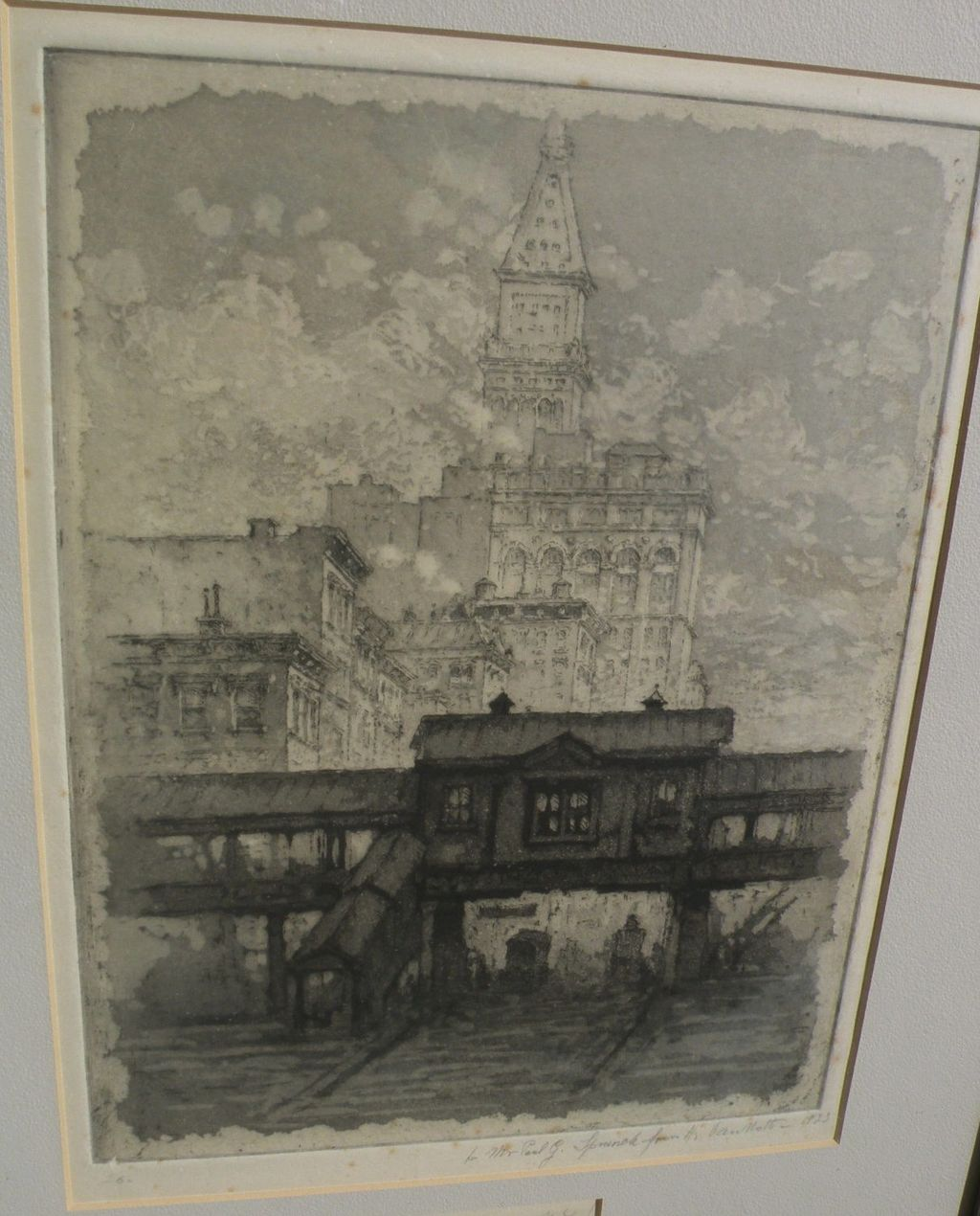 "HENRY VAN NOTTI (1876-1962) New York City etching ""The L"" listed artist‏"