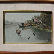 Asian art small impressionist painting of a canal in Thailand with houseboat and ducks