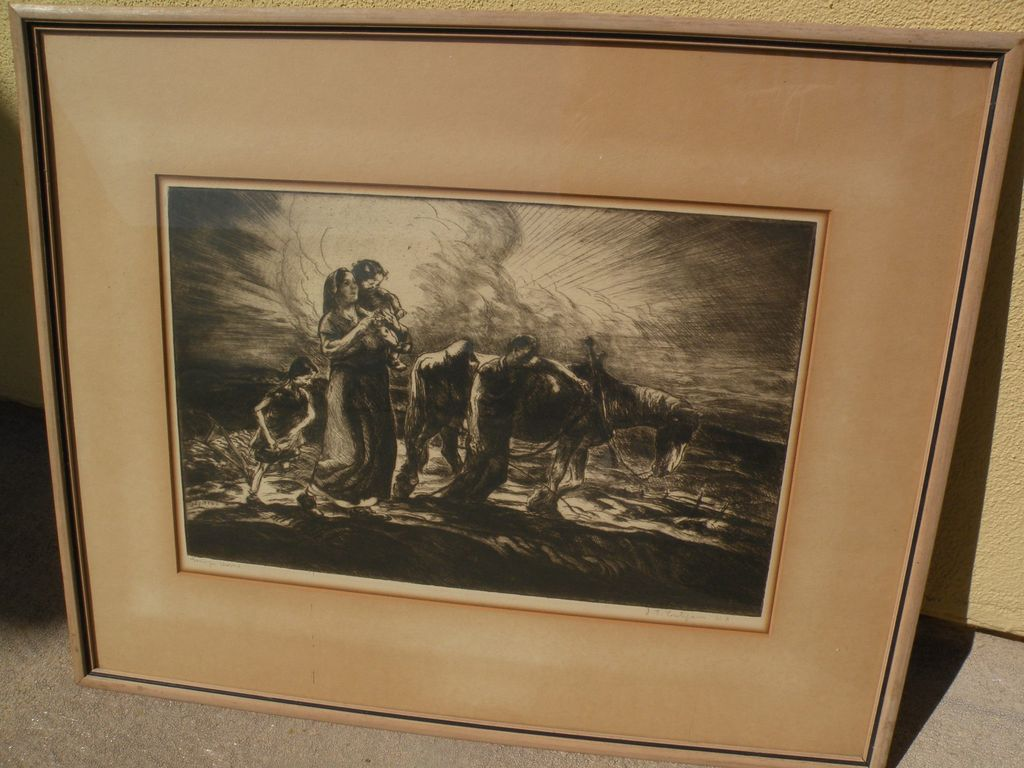"JOHN EDWARD COSTIGAN (1888-1972) American art pencil signed 1940 lithograph ""Going Home"""