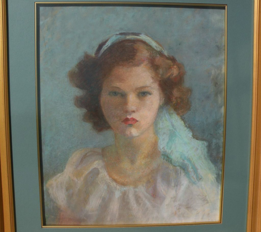 American art vintage circa 1915 fine pastel portrait of a young girl