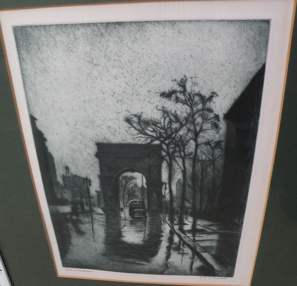 "ELIAS MANDEL GROSSMAN (1898-1947) elegant etching aquatint print ""Rain on the Square"" by noted American artist, with celebrity provenance"
