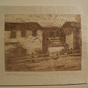 """MARY DENEALE MORGAN (1868-1948) pencil signed etching titled """"Robert Louis Stevenson House"""""""