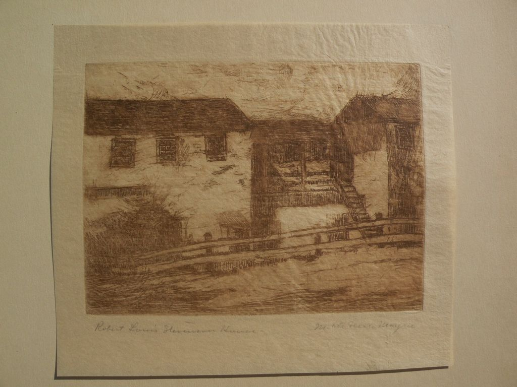 "MARY DENEALE MORGAN (1868-1948) pencil signed etching titled ""Robert Louis Stevenson House"""