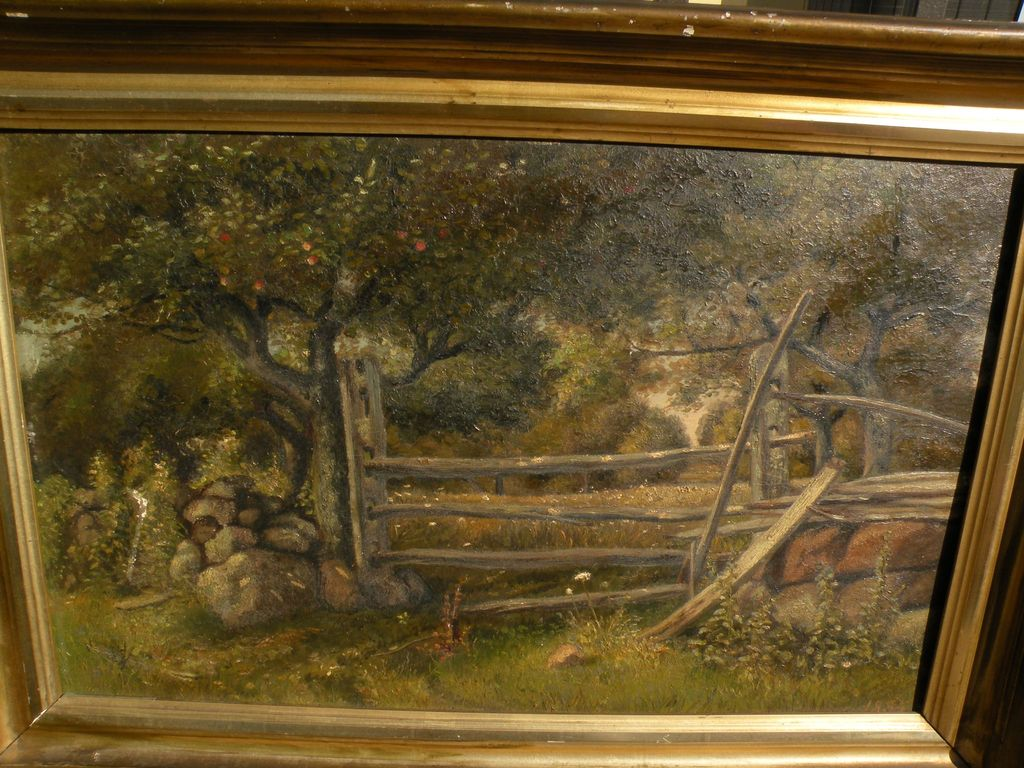 American art 1885 Hudson River school rural landscape apple tree and fenced clearing