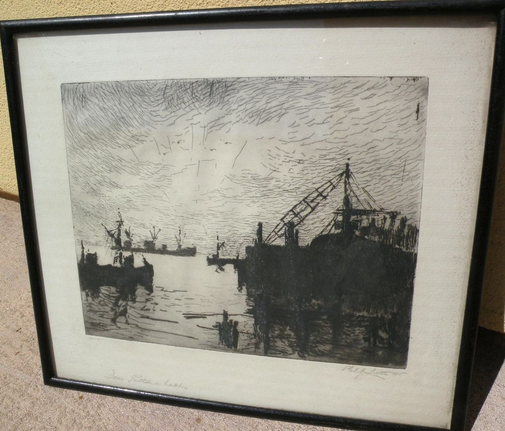 "PHILIP LITTLE (1857-1942) pencil signed 1915 etching ""Dawn Portland Harbor"" by well listed and collected New England artist"