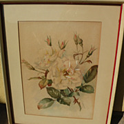 Signed watercolor painting of roses dated 1907