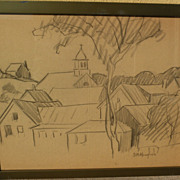 DAISY MARGUERITE HUGHES (1882-1968) charcoal sketch of houses and church in a landscape