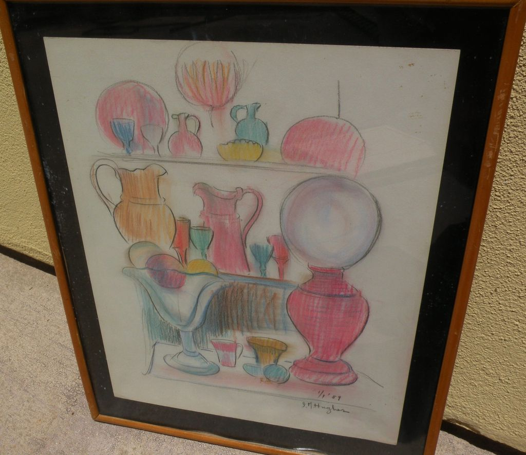 DAISY MARGUERITE HUGHES (1882-1968) color crayon still life sketch of glasses, cups and pitchers