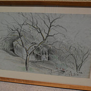 DAISY MARGUERITE HUGHES (1882-1968) pencil and crayon sketch of a greenhouse dated 1941