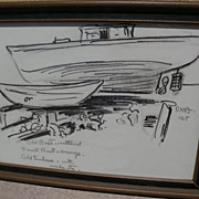 DAISY MARGUERITE HUGHES (1882-1968) pencil and ink sketch of a boatyard dated 1965