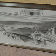 DAISY MARGUERITE HUGHES (1882-1968)  pencil sketch of boatyard dated 1965