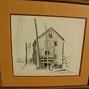 DAISY MARGUERITE HUGHES (1882-1968) pencil sketch of dockside harbor building
