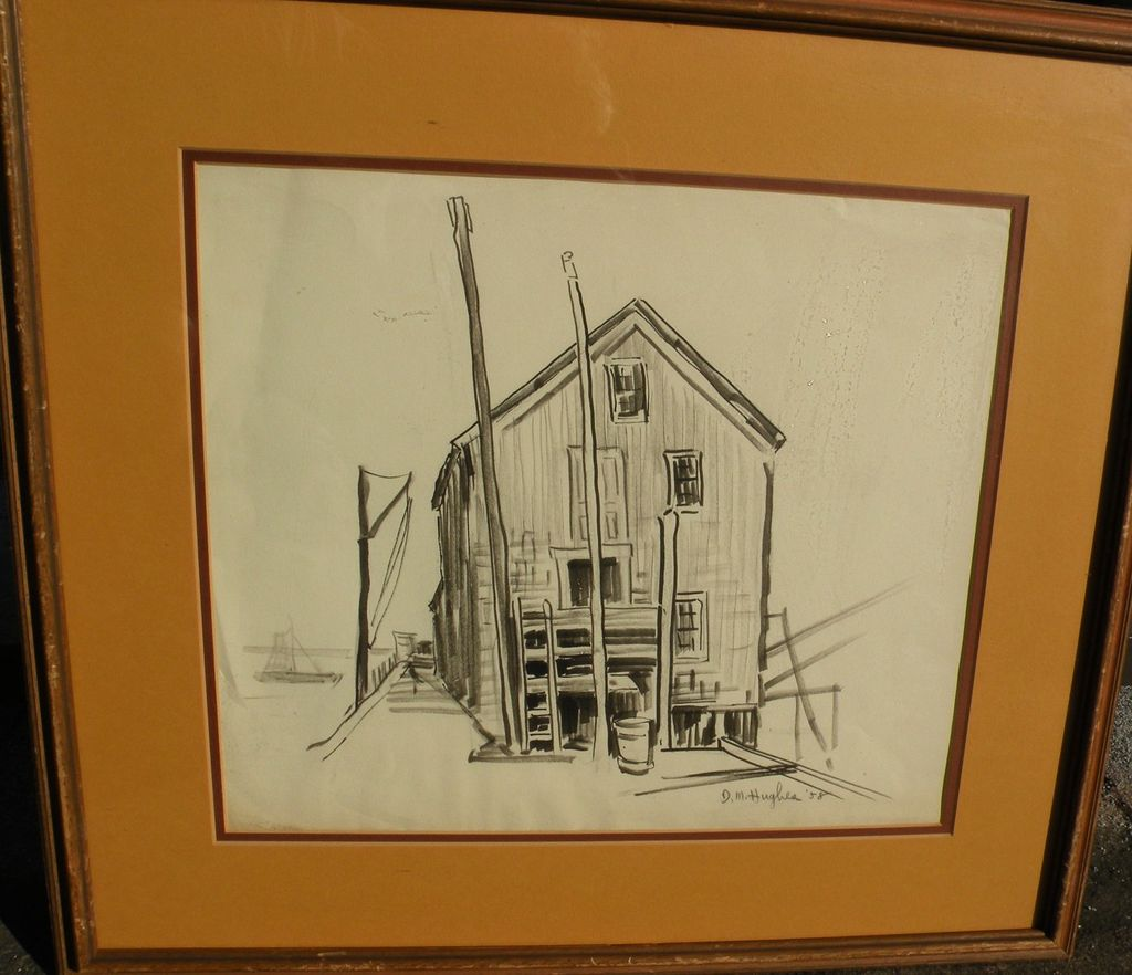DAISY MARGUERITE HUGHES (1882-1968) pencil sketch of dockside harbor building