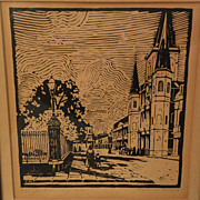 CLARENCE MILLET (1897-1959) Louisiana regionalist art pencil signed woodcut print of New Orleans