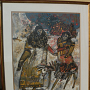THEODORE TOBIASSE (1927-) pencil signed limited lithograph by important School of Paris Jewish modernist artist