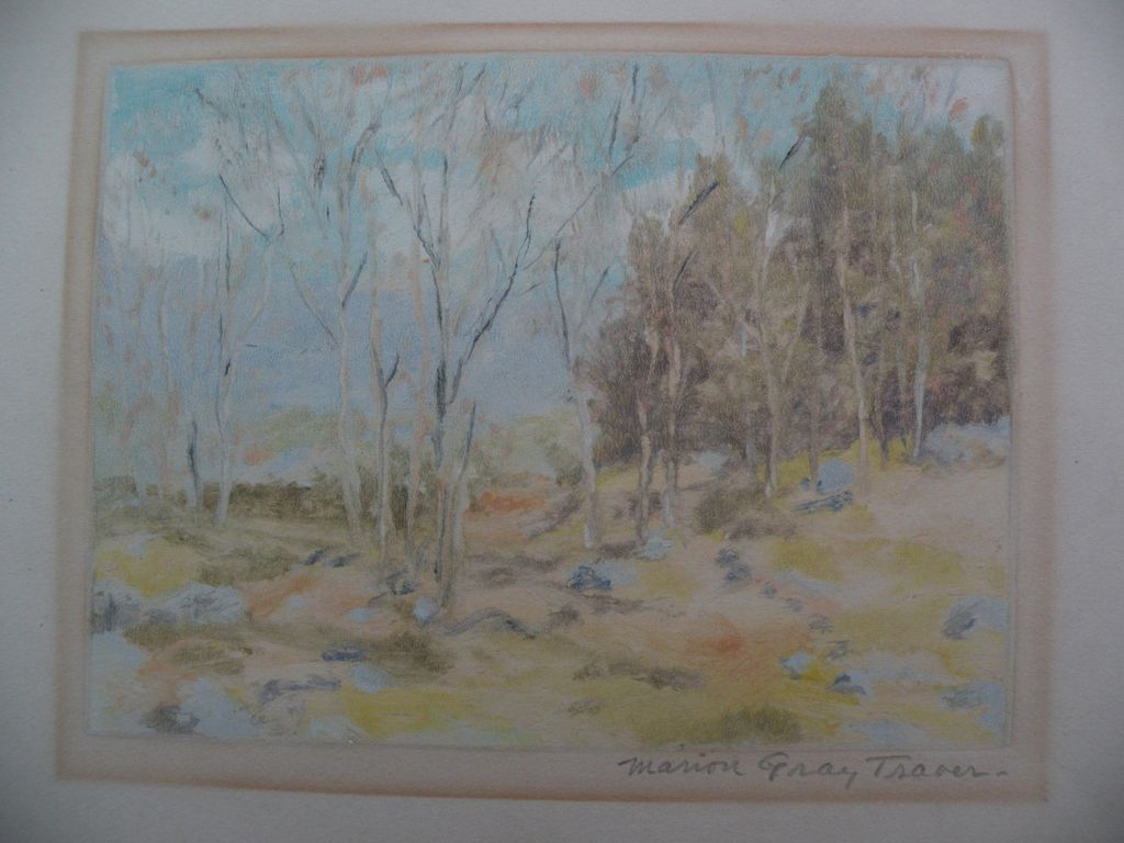 MARION GRAY TRAVER (1892-) American art original monotype print of impressionist landscape