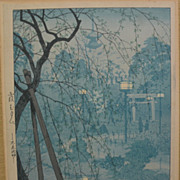 "SHIRO KASAMATSU (1898-1991) Japanese woodblock print ""Misty Evening at Shinobazu Pond, Tokyo"" pencil signed and titled"