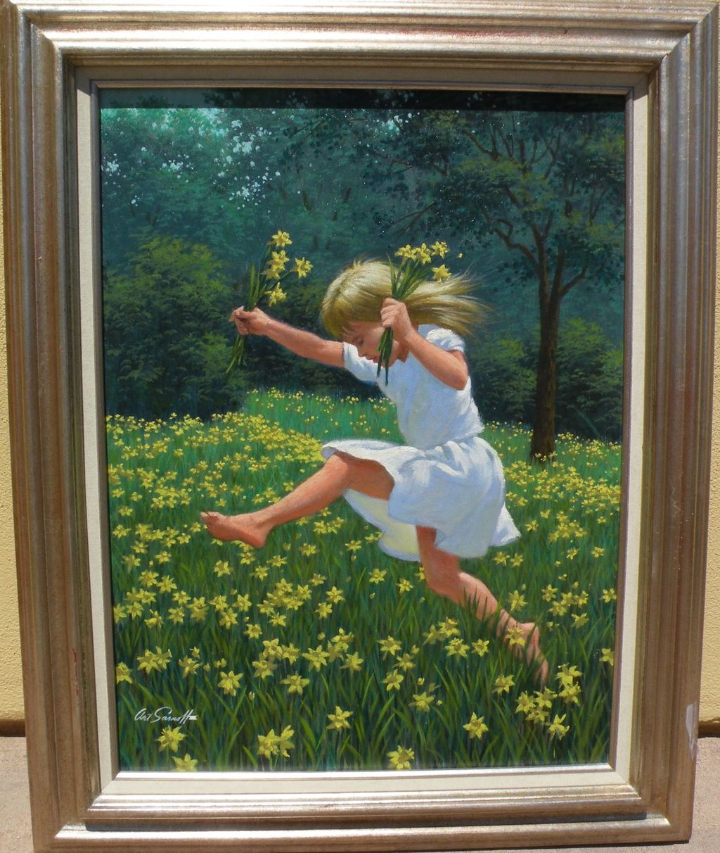 ARTHUR SARNOFF (1912-2000) American illustration art painting of young girl in a field of flowers