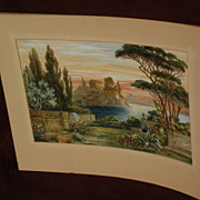 KARL NACKE German artist Italian art landscape watercolor painting dated 1918
