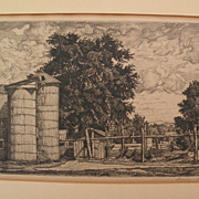 "LUIGI LUCIONI (1900-1988) American art pencil signed 1942 etching ""Two Silos"""