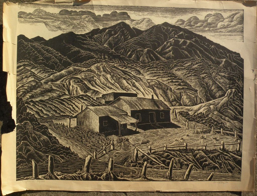 "INA ANNETTE (1901-1990) linocut print ""Sheep Ranch"" New Mexico by student of Birger Sandzen"