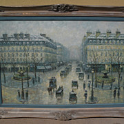 G. SHERMAN contemporary impressionist painting of classic Paris street scene by popular auction level artist