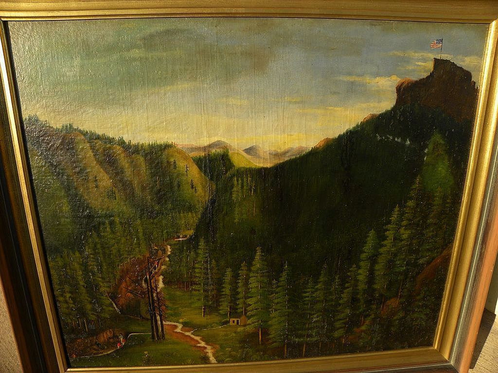 Early California art 19th century naive painting of Gold Country landscape with miners circa 1870