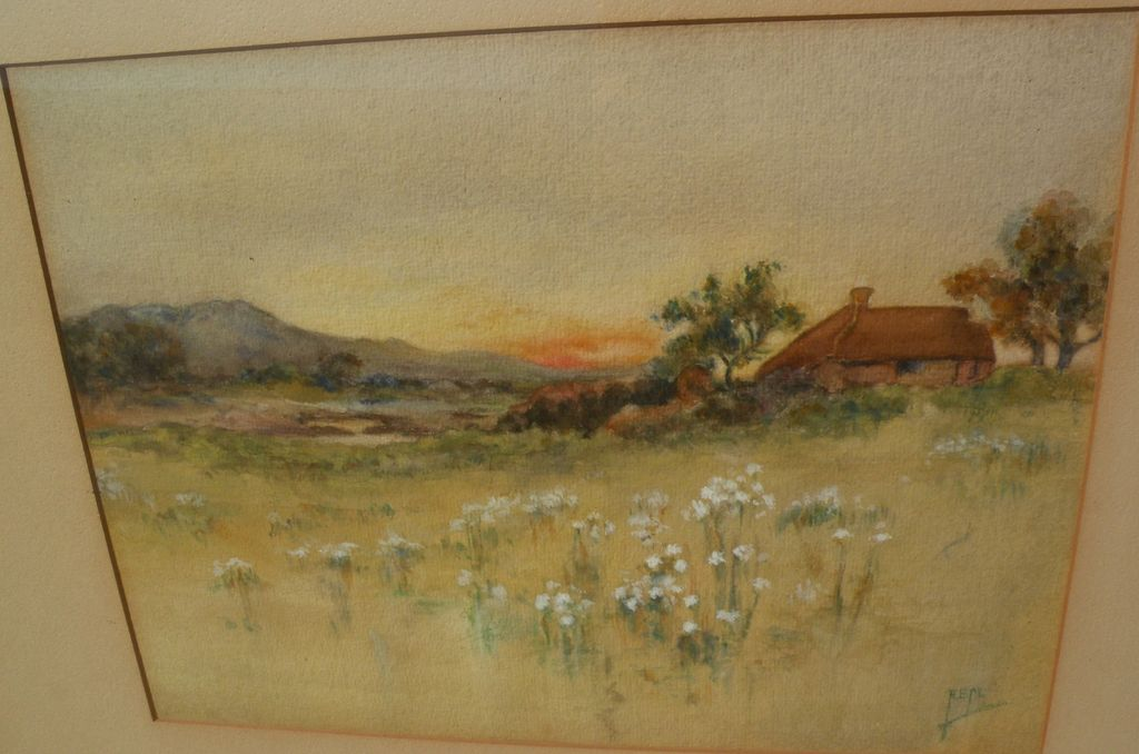 English art circa 1900 antique watercolor signed landscape painting
