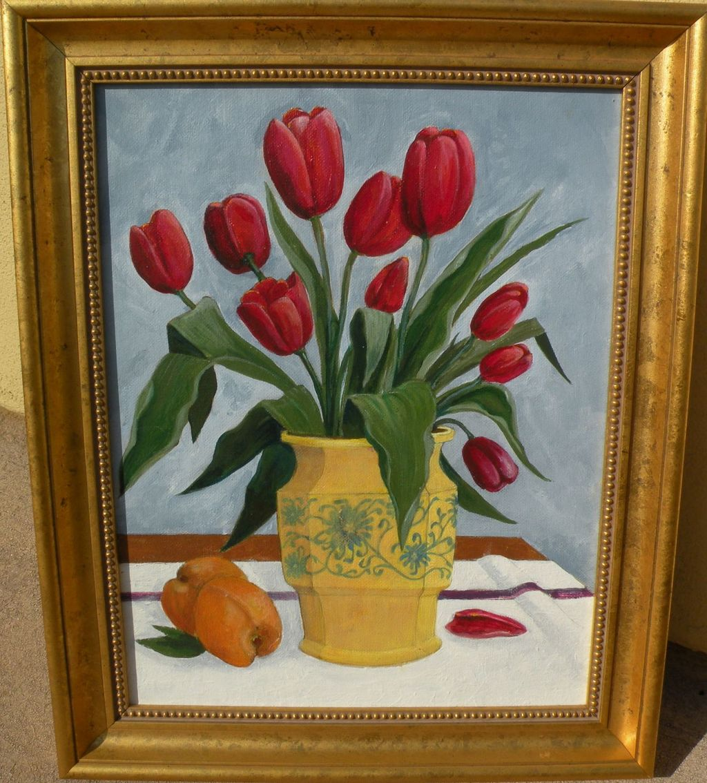 Floral contemporary still life painting of tulips in a decorative yellow vase