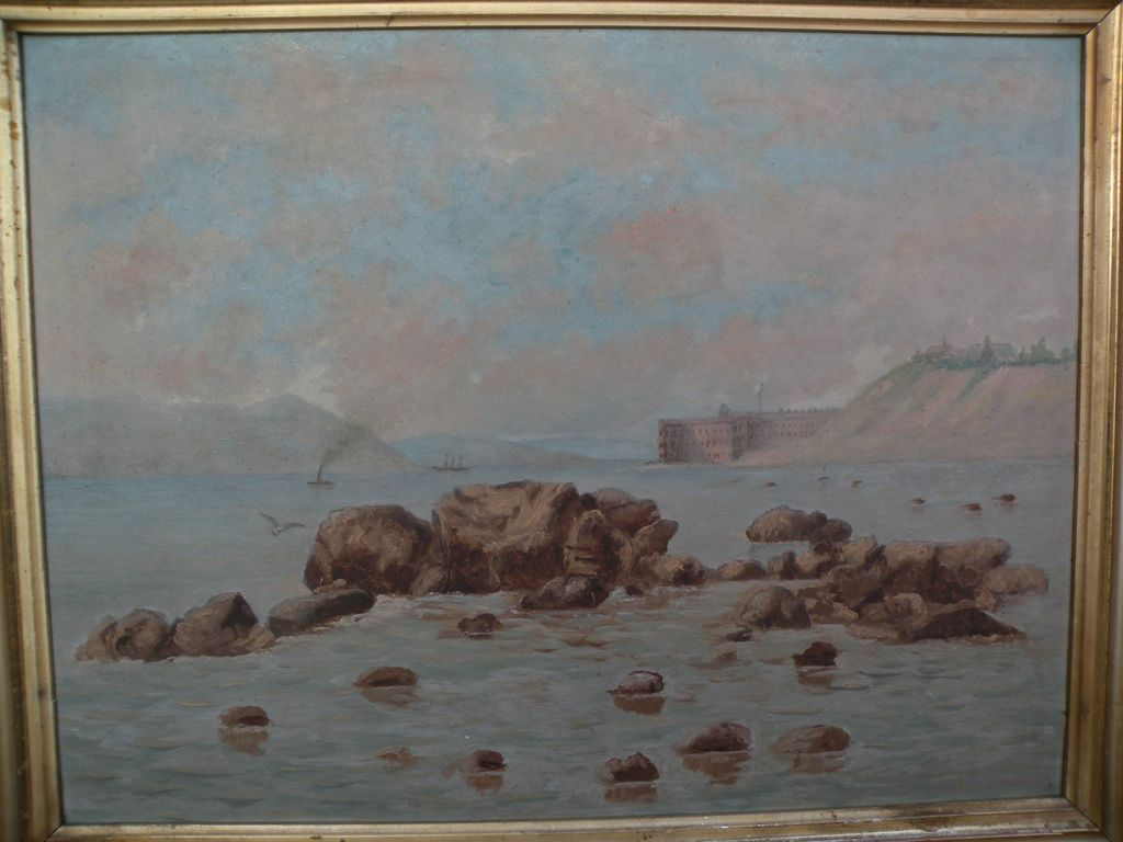 Early California Art Circa 1900 Painting Of Fort Point And