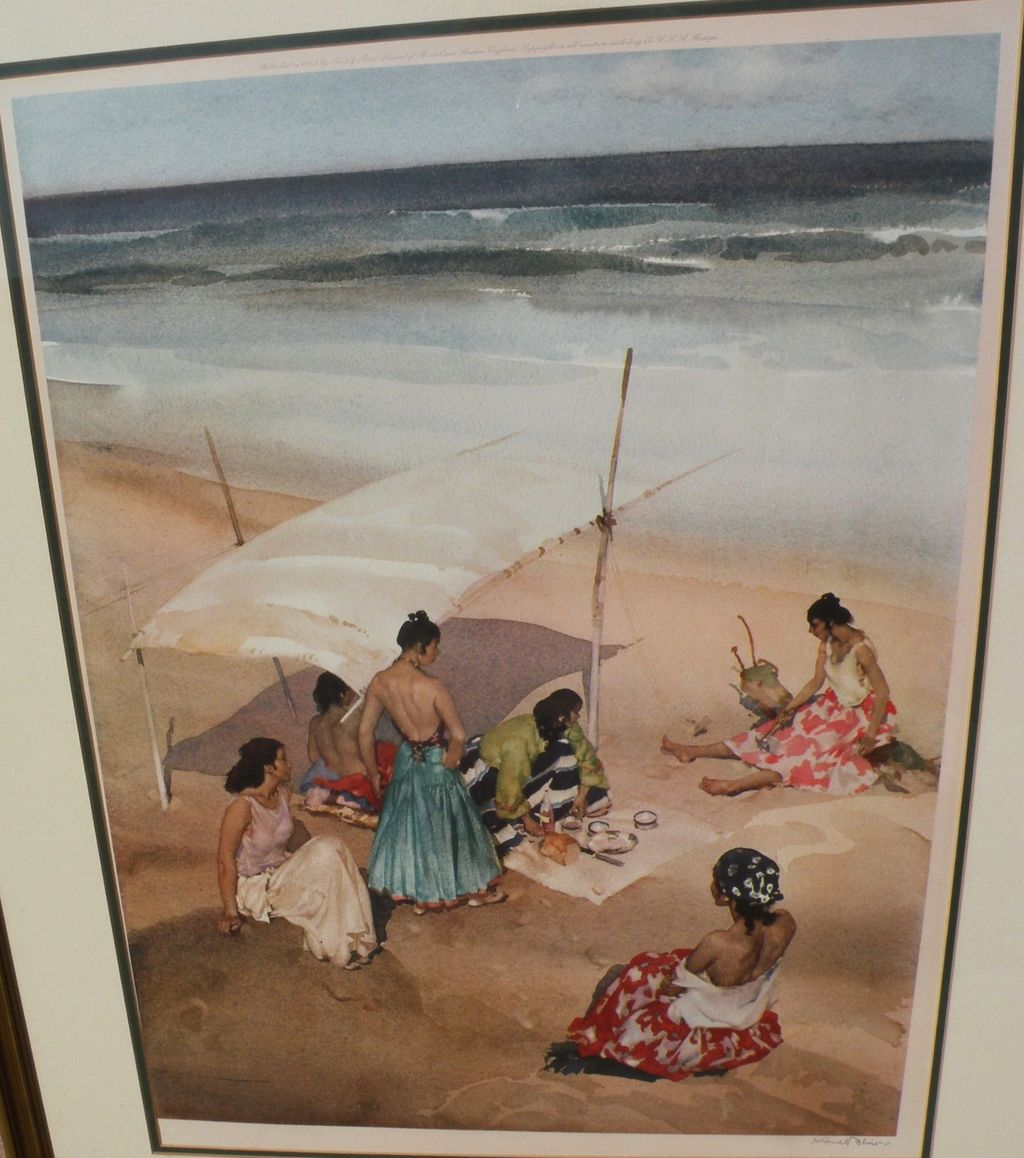 """WILLIAM RUSSELL FLINT (1880-1969) important English 20th century watercolor artist limited edition signed photolithograph print """"Gitanas at La Galera"""""""